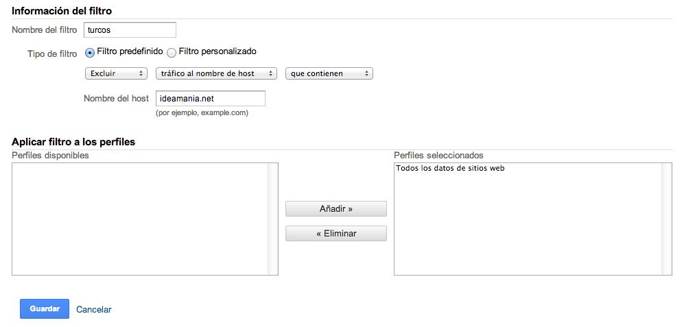 crear filtro Google Analytics