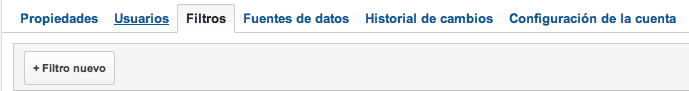 pestaña filtro Google Analytics