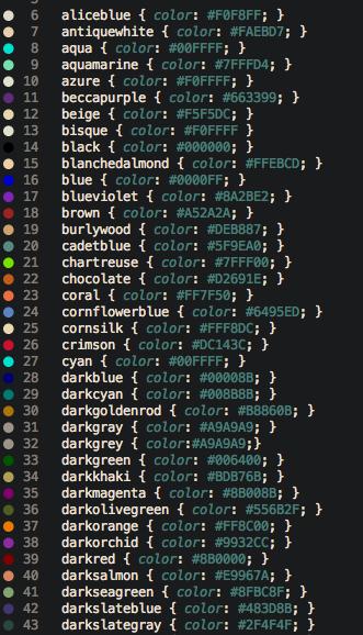 Gutter color keywords